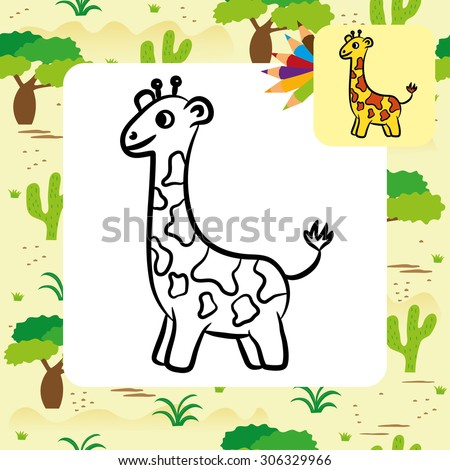 Cartoon Giraffe Coloring Page Vector Illustration Stock Vector