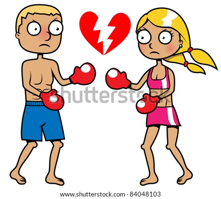 Cartoon girl and a boy boxing, breakup concept, vector illustration - stock vector