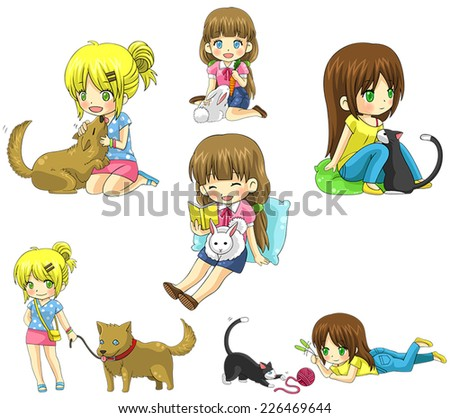 Cartoon girl character playing and take care of her cute pet dog puppy cat kitten rabbit icon collection set, create by vector - stock vector