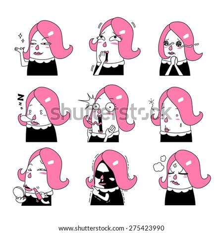 Cartoon girl Emoticon - vector illustration - stock vector