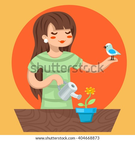 Cartoon Girl Female Woman Character Bird Watering Flower Icon Stylish Background Design Vector Illustration