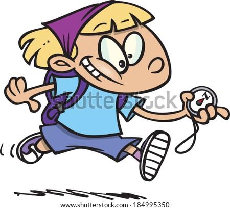 cartoon girl following a compass - stock vector