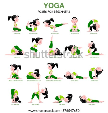 Cartoon girl in Yoga poses with titles for beginners isolated on white background. Yoga Poses Infographic Elements with captions. Vector illustration. - stock vector