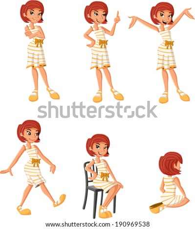 Cartoon girl on different poses  - stock vector