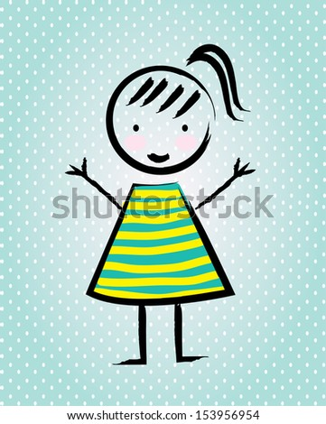 cartoon girl over blue background vector illustration - stock vector
