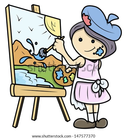 Cartoon Girl Painting a Landscape on Canvas - Vector Illustrations