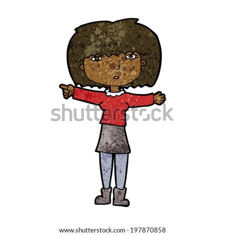 cartoon girl pointing - stock vector