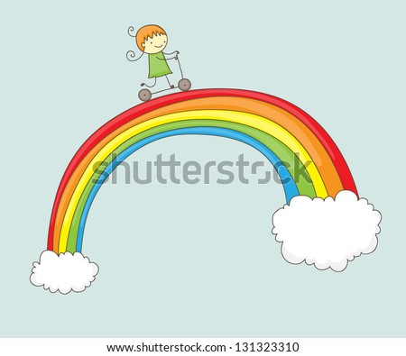 Cartoon girl riding her push scooter on a rainbow - stock vector