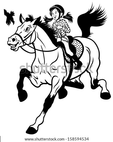 cartoon girl riding horse black and white children illustration