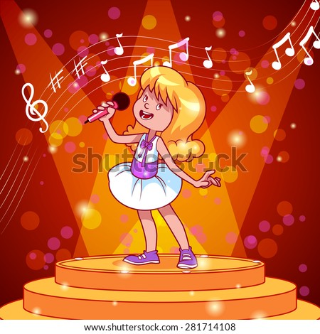 Cartoon girl singing with a microphone. Vector clip art illustration - stock vector