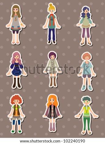 cartoon girl stickers - stock vector