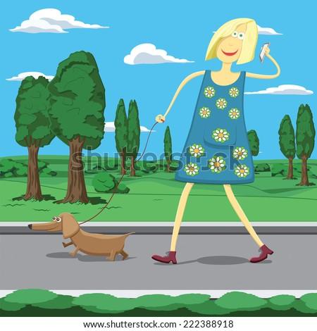 Cartoon girl walking dog in park - stock vector