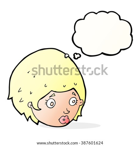 cartoon girl with concerned expression with thought bubble - stock vector