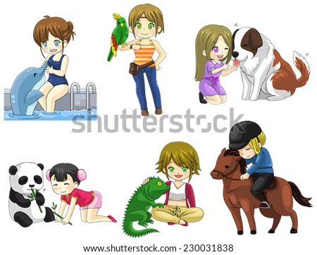 Cartoon girl with her pet icon collection set 2, create by vector - stock vector