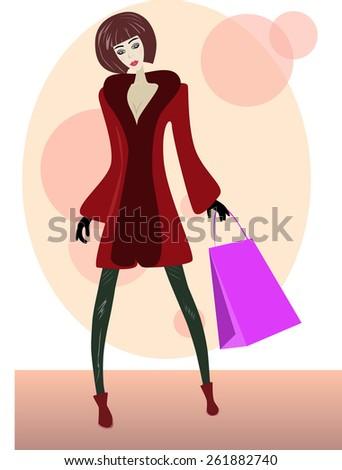 Cartoon girl with shopping bag - stock vector