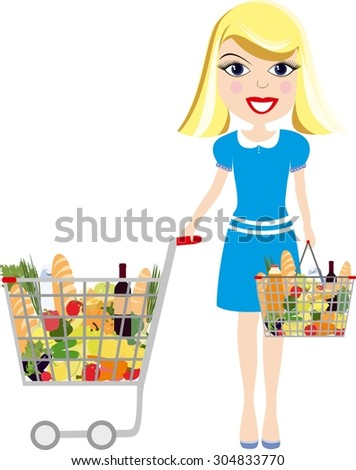 Cartoon girl with shopping cart full of groceries. Girl with trolley Isolated on white background. Vector woman with food basket. Colorful woman with grocery bag. Grocery shopper vector illustration. - stock vector