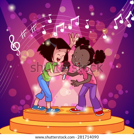 Cartoon girls singing with a microphone. Vector clip art illustration - stock vector