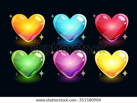 Cartoon glossy hearts set, vector shiny icons on dark background - stock vector