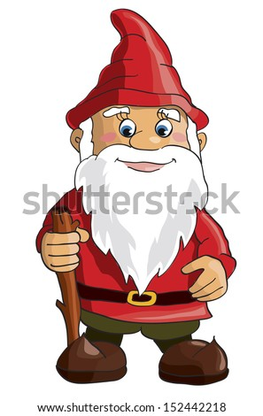 Cartoon gnome on white background. Vector - stock vector
