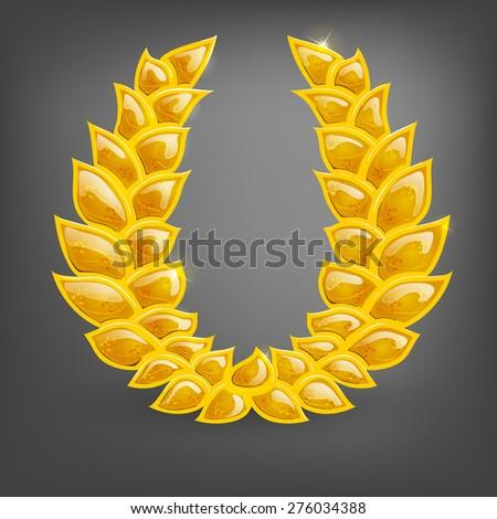 Cartoon gold laurel. Vector illustration. - stock vector