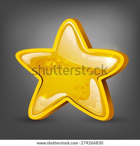 Cartoon gold star. Vector illustrations. - stock vector