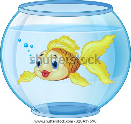 Cartoon golden fish in the aquarium - stock vector