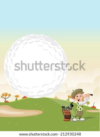 Cartoon golfer boy shooting a golf ball on green course - stock vector