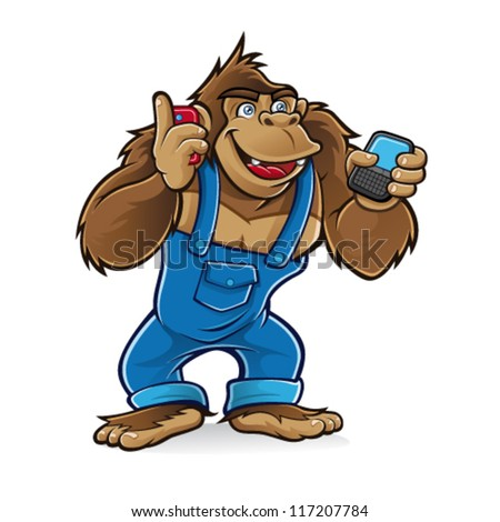 Cartoon gorilla wearing a mechanic was talking by cell phone with one hand and the other was writing a message - stock vector