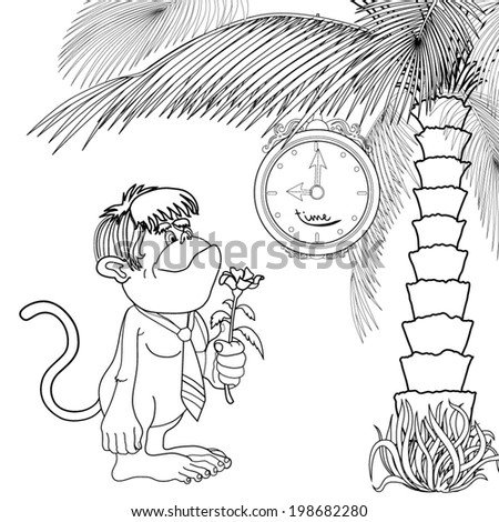 Cartoon gorilla with a flower in her hand expects Dating under the clock and a palm tree on the beach. Coloring book. - stock vector