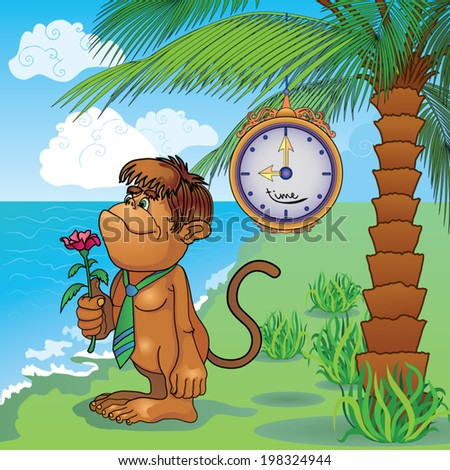 Cartoon gorilla with a flower in her hand goodbye to expect under the clock and a palm tree on the beach. - stock vector