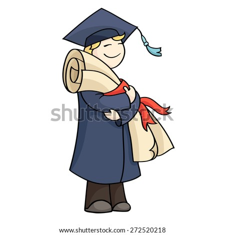 Cartoon graduating man with diploma with red ribbon. Happy cute boy on graduation day in gown and hat holding certificate. Hand-drawn vector illustration isolated on white. - stock vector