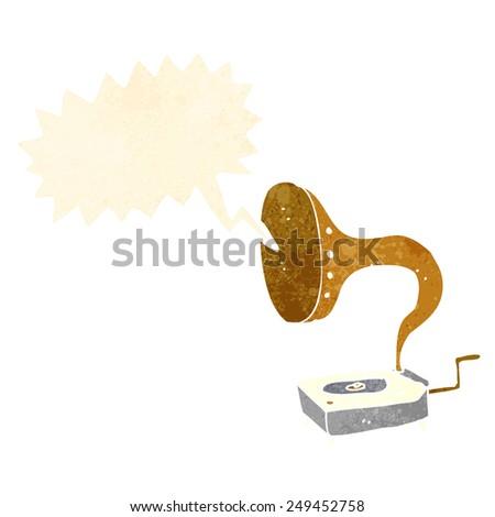 cartoon gramophone with speech bubble - stock vector