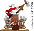 cartoon graphic depicting Santa Claus being pulled up a chimney by a reindeer - stock vector