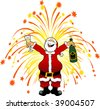 cartoon graphic depicting Santa Claus celebrating the New Year - stock vector