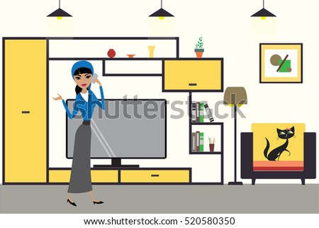 Cartoon graphic living room interior design with furniture,cat on chair and woman with smart phone,flat vector illustration