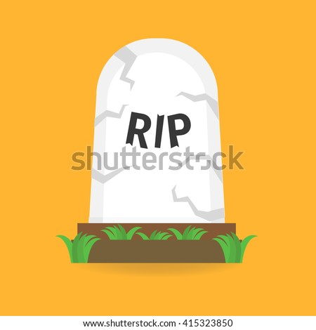 Cartoon grave flat design - stock vector