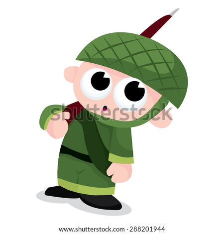 Cartoon green army boy vector illustration.