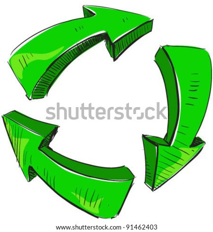 Cartoon green arrows and recycle sign icon. Sketch fast pencil hand drawing illustration in funny doodle style.