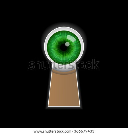 Cartoon green eye peeping through the keyhole. Vector illustration on black background