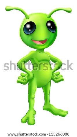 Cartoon green  happy friendly alien standing with his hands on his hips - stock vector