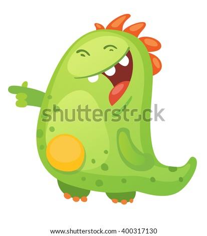 Cartoon Green Monster - stock vector