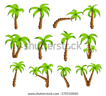 Cartoon green palm trees on a white background. Set of isolated funny cartoon tropical trees patterns icons, for filling your sky scenes or the game interface backgrounds - stock vector