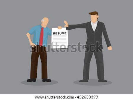 cartoon grey hair old man character holding resume and businessman holds a stop gesture vector - Resume Discrimination