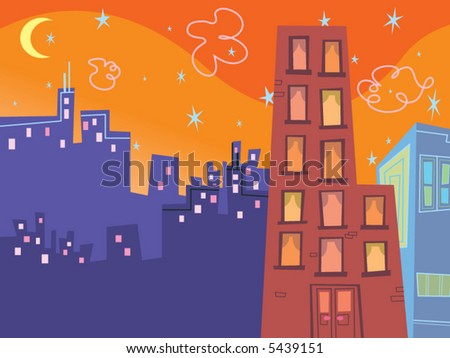 cartoon groovy buildings silhouettes (vector) - stock vector