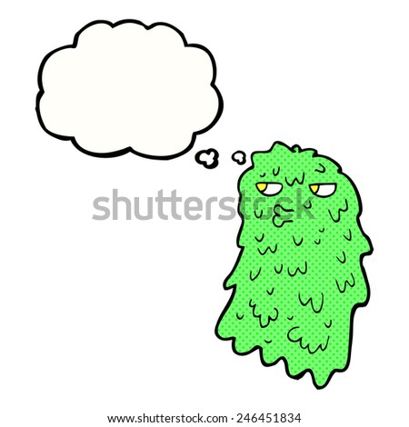 cartoon gross ghost with thought bubble - stock vector