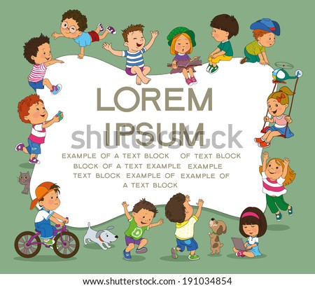 cartoon group of children on a background speech bubble with text  - stock vector