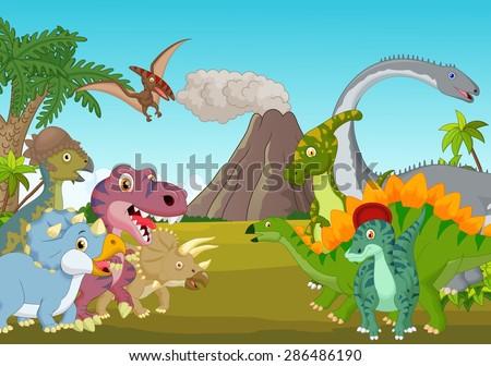 Cartoon group of dinosaur with mountain - stock vector