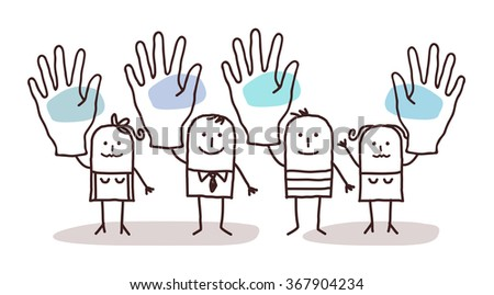 cartoon group of people saying YES with raised hands - stock vector