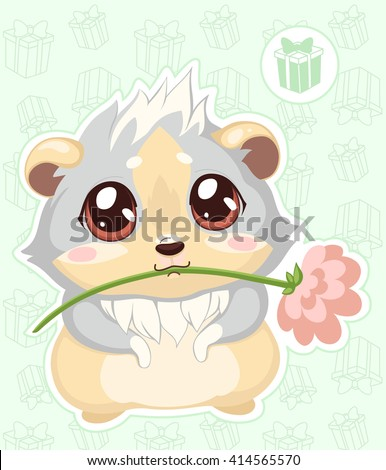 Cartoon guinea pig, color vector image on the background with gifts/Sticker cavy with a flower - emoticons icon gift, gift emoji   - stock vector