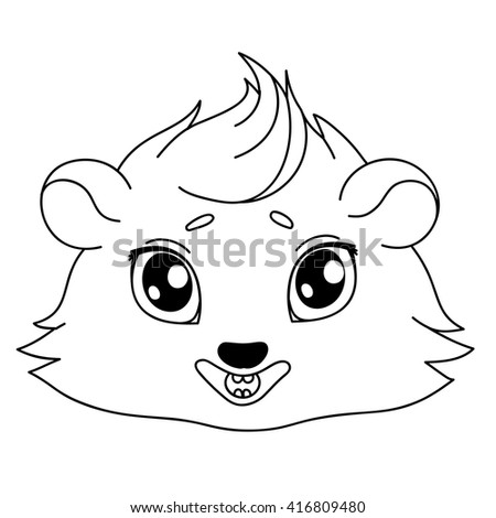 Cartoon guinea pig, line drawing, emoticon smile, isolated on transparent background/Funny cavy smiling - emoticons icon smile, smile emoji  - stock vector